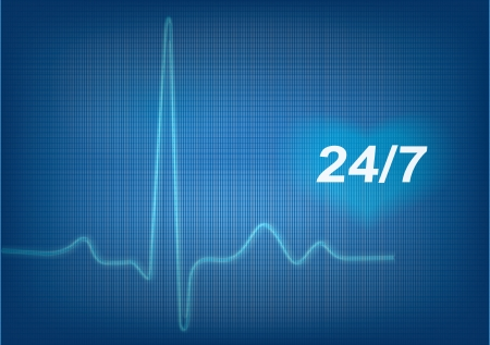taking pulse: electrocardiogram  ECG   Detailed vector  Illustration