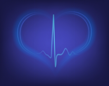 sinus: heart shape and electrocardiogram  Illustration