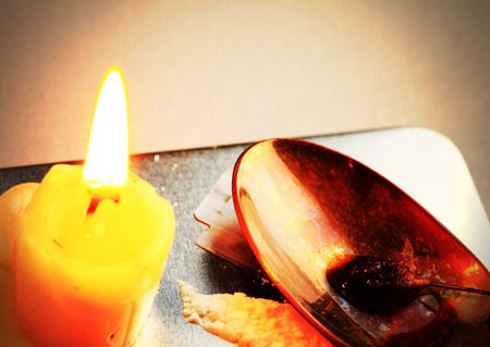 narcotic: Candle, a spoon with narcotic