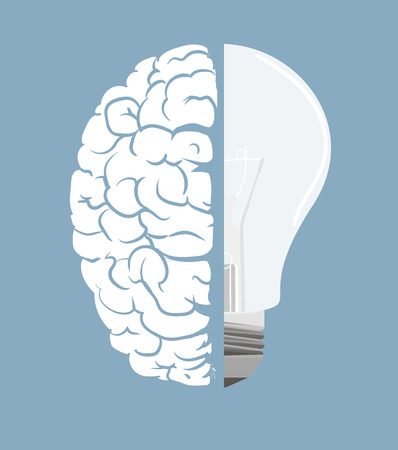 Brain and light bulb  Concept of idea  Vector
