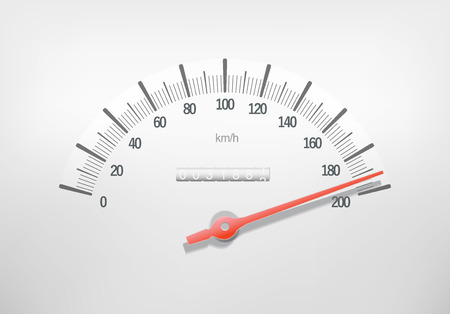 Speedometer on a white surface  Illustration illustration