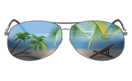 tropical beach panoramic: Summer beach landscape with palm trees, beach chair in the reflection of Sunglasses