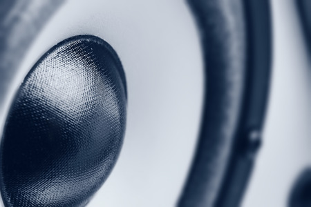 sound waves: Music speaker. Monochrome close-up photo Stock Photo