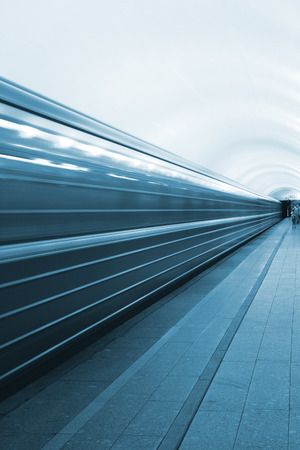 subway station: High-speed movement of the train in the subway  Stock Photo