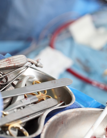 Surgery. Symbol in the form of bloody tools  Stock Photo