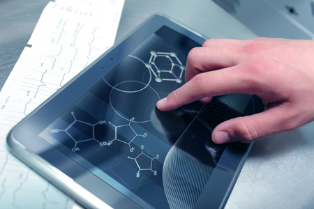 annotations: Chemistry and medicine in modern technologies  Stock Photo