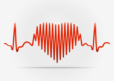 taking pulse: Red heart with the transition to ECG with shadow. Vector illustration