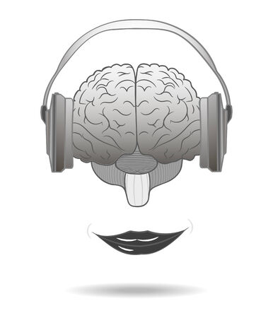 headset symbol: Human brain with a smile when listening to music from headphones