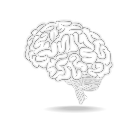 Thoughts brain illustration with shadow Vector