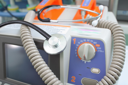 electroshock: Defibrillator and stethoscope Stock Photo