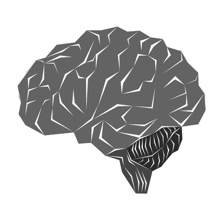 simplistic: Illustration with human brain in a simple geometric style