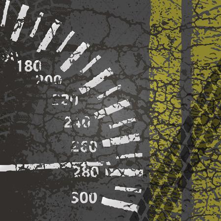 tyre tracks: Asphalt road with speedometer, markings, and the wheel tracks