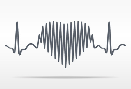 love life: Cardiogram and heart. Illustration on white background with shadow Stock Photo