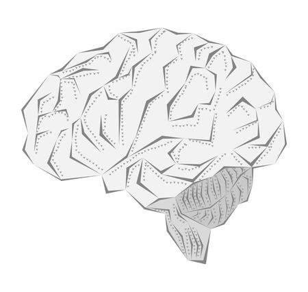 Creative idea of the human brain in a metal sheath photo
