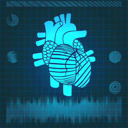 Human heart on the monitor screen Vector