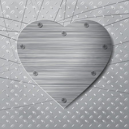 antiqued: Valentines Day background with metal heart and embossed backdrop Illustration