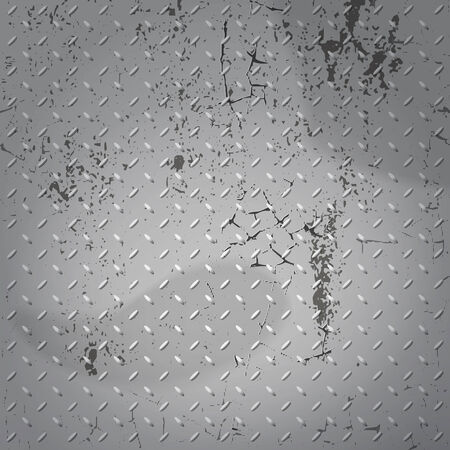 dilapidated: Dilapidated metal plate with cracks and scuffs Illustration