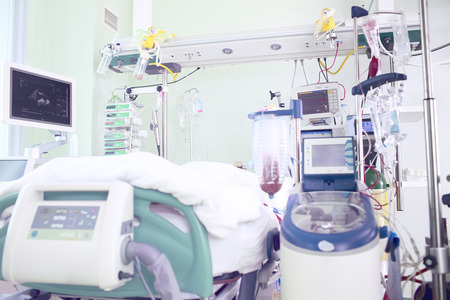 intensive care unit: Chamber in intensive care unit occupied by seriously ill patients Stock Photo