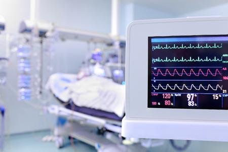 作為監測病人的時鐘監視在ICU概念 版權商用圖片 - 36934257