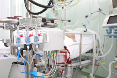 Seriously ill patients in intensive care unit with a artificial blood circulation apparatus Stok Fotoğraf - 36934259