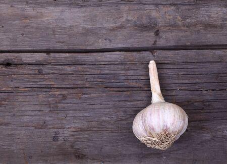 obsolete: Garlic on obsolete wooden background Stock Photo
