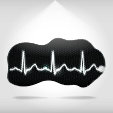 heart ecg trace: Heartbeat monitor pixelated fragment or ECG diagram on an abstract shape