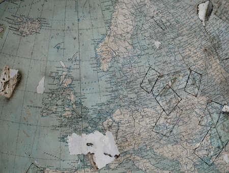 western europe: Vintage map (fragment of the globe) of the old Western Europe in Russian