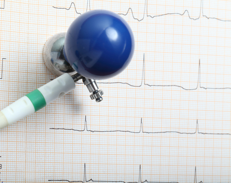 electrode: ECG electrode and chart Stock Photo