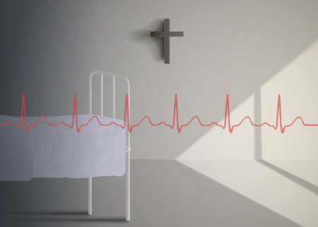 hospital ward: Cardiogram of a patient against the backdrop of the old hospital ward
