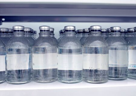 saline solution: Warehouse bottles of saline solution in the hospital