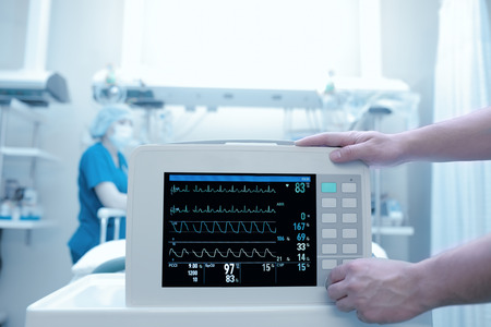 intensive care unit: Setting equipment in the intensive care ward Stock Photo