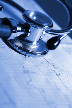 nursing unit: ECG and stethoscope concepts of medical diagnostics