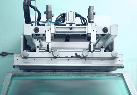 在絲網印刷技術復古印刷機 版權商用圖片