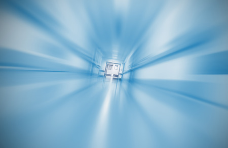 emergency case: Blurred hospital corridor concept emergency case