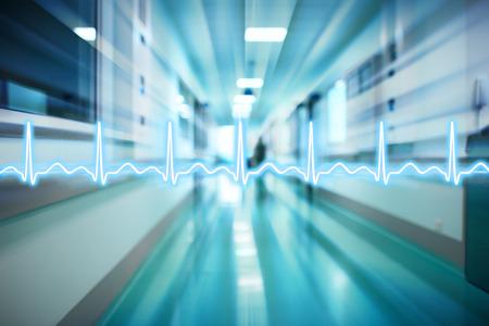 Ligne d'ECG sur le fond du couloir de l'hôpital, le concept d'urgence médicale Banque d'images - 41258689