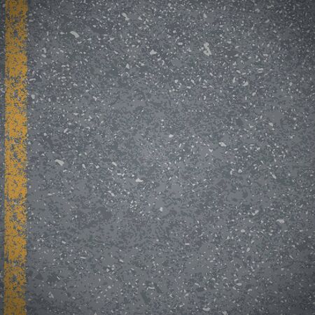 sidewalk: Asphalt Abstract vector road pavement with cracked yellow marking Illustration