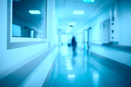 Blurred hospital corridor modern medical background