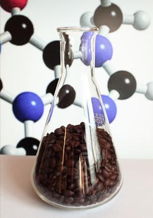 caffeine molecule: Coffee biochemistry molecular formula in lab