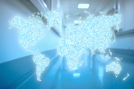 World in hospital corridor Abstract healthcare concept. Stock Photo