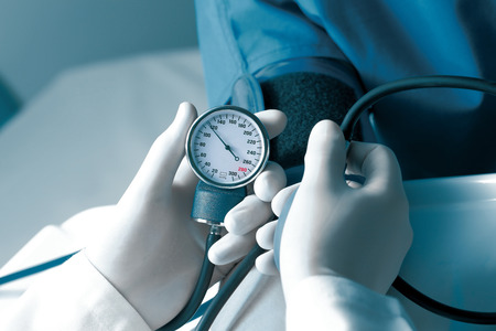 blood pressure gauge: Measurement of blood pressure in hospital