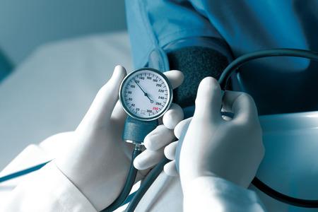 a hospital: Measurement of blood pressure in hospital