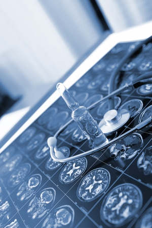nursing bottle: Drugs on the CT scan of the brain Stock Photo