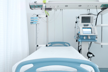 Bed and equipment in intensive care ward