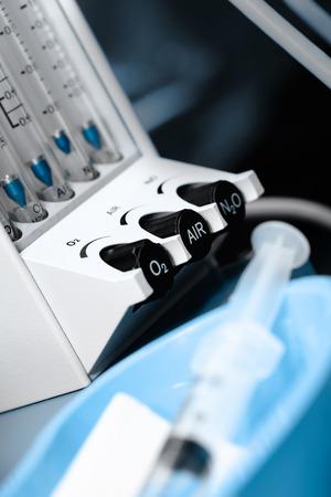 icu: Flowmeter in ICU concept of special equipment in hospital Stock Photo