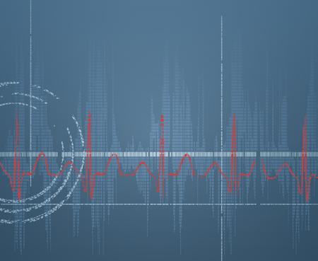 er: Heart beating (ECG) on the scientific technology background Illustration