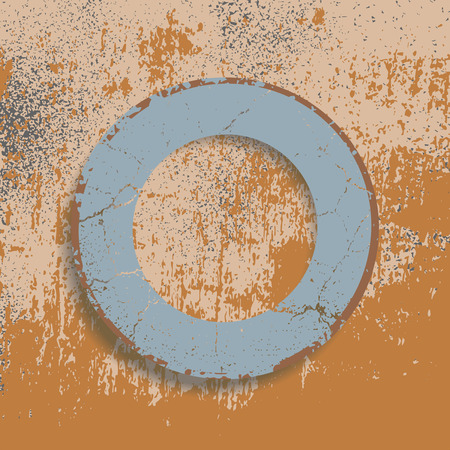 sunken: Figure in a ring shape on the shabby background Illustration