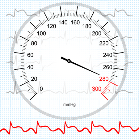 blood pressure monitor: Hypertension and myocardial infarction Illustration