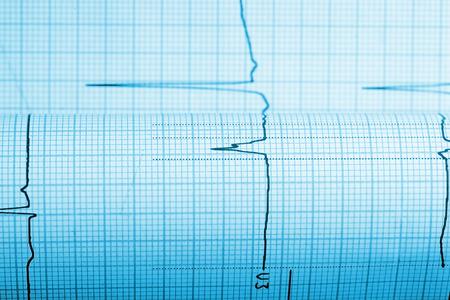 sismogr�fo: Papel con la curva de un sism�grafo