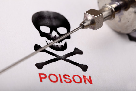 infectious: Poison in the syringe. Crime scientific concept. Close-up Stock Photo