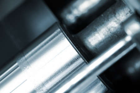 advances: Shiny polished shaft. Fragment of the machine Stock Photo